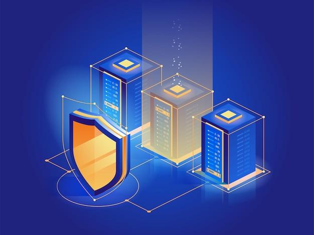 Bezpieczeństwo cybernetyczne. ochrona bezpieczeństwa sieci i bezpieczna koncepcja danych. przestępczość cyfrowa. anonimowy haker. szablony projektów stron internetowych. ilustracja wektorowa izometryczny