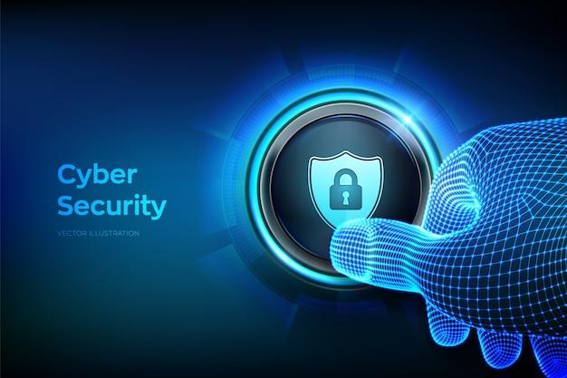 Bezpieczeństwo cybernetyczne. ochrona i bezpieczna koncepcja. zbliżenie palec o naciśnięcie przycisku z symbolem tarczy bezpieczeństwa.