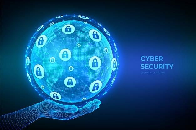 Bezpieczeństwo cybernetyczne. ochrona informacji i koncepcja bezpieczeństwa. kompozycja punktu i linii na mapie świata. kula ziemska w ręku.