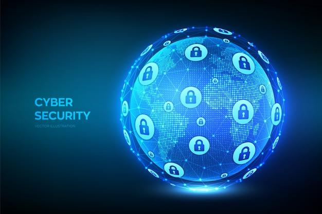 Bezpieczeństwo cybernetyczne. ochrona informacji i koncepcja bezpieczeństwa. kula ziemska z punktem mapy świata i kompozycją linii.