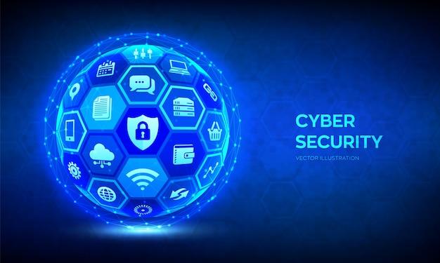 Bezpieczeństwo cybernetyczne. ochrona informacji i / lub bezpieczna koncepcja. abstrakcjonistyczna 3d sfera lub kula ziemska z powierzchnią sześciokąty z ikonami.