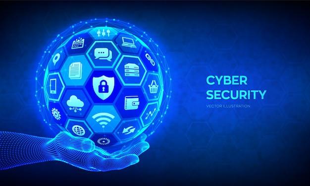 Bezpieczeństwo cybernetyczne. ochrona informacji i / lub bezpieczna koncepcja. streszczenie kula 3d z ikonami w ręce model szkieletowy.