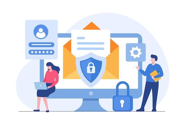 Bezpieczeństwo danych osobowych, cyberbezpieczeństwo danych online ilustracja koncepcja, bezpieczeństwo w internecie lub prywatność informacji. płaski baner ilustracji wektorowych i ochrona