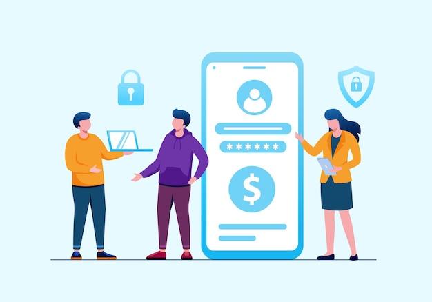 Bezpieczeństwo danych osobowych cyberbezpieczeństwo danych online ilustracja koncepcja bezpieczeństwo w internecie