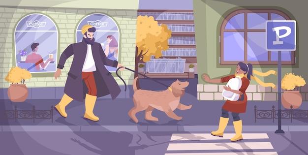 Bezpieczeństwo dzieci i scena zły pies z płaską ilustracją strachu