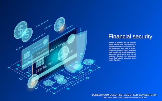 Bezpieczeństwo finansowe płaskie 3d izometryczny ilustracja koncepcja wektorowa