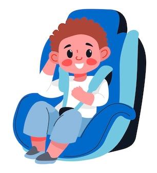 Bezpieczeństwo i ochrona dzieci podczas podróży samochodem, małego chłopca siedzącego w foteliku z pasami i paskami mocującymi. mały pasażer, urocza postać dzieciaka w podróży. wektor w stylu płaskiej