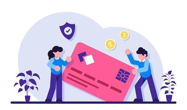 Bezpieczeństwo karty kredytowej. ochrona oszczędności finansowych. konto osobiste, lokata w banku oszczędnościowym. miesięczne wynagrodzenie, pensja, budżet.