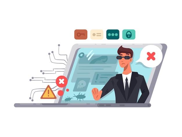 Bezpieczeństwo komputera online. ochrona dostępu i haseł. ilustracji wektorowych