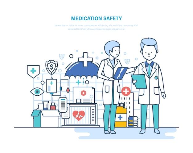 Bezpieczeństwo leków pacjentów ilustracja cienka linia.