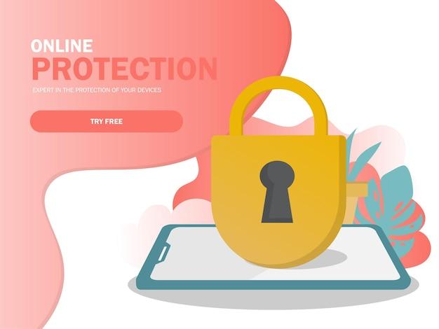 Bezpieczeństwo mobilne, koncepcja ochrony danych. nowoczesna, płaska konstrukcja elementów graficznych dla banera internetowego, strony internetowej, infografiki. ilustracja wektorowa w nowoczesnych kolorach
