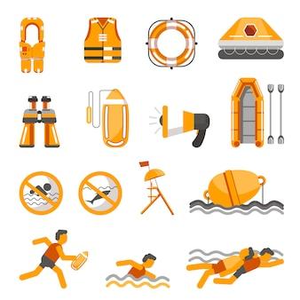 Bezpieczeństwo na wodzie wektor płaskie ikony zestaw do infografiki