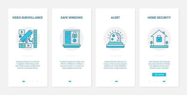 Bezpieczeństwo, nadzór wideo, ochrona prywatności ux ui onboarding zestaw ekranów aplikacji mobilnej
