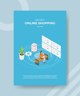 Bezpieczeństwo podczas zakupów online kobiety siedzące na ławce używają mody laptopa na ekranie dla szablonu ulotki