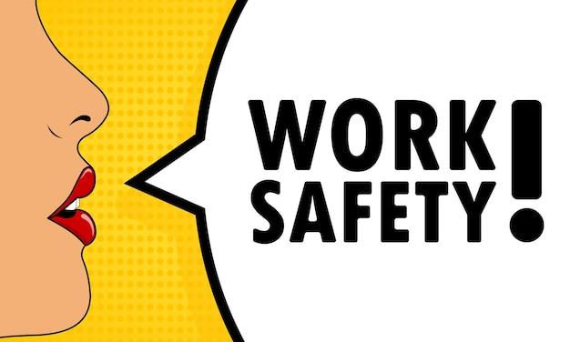 Bezpieczeństwo pracy. kobiece usta z krzykiem czerwona szminka. dymek z tekstem bezpieczeństwo pracy. komiks w stylu retro. może być używany w biznesie, marketingu i reklamie. wektor eps 10.