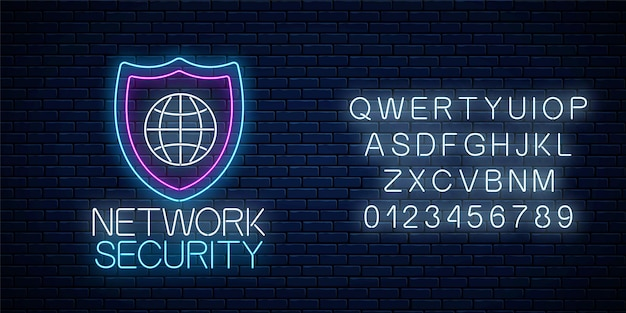 Bezpieczeństwo sieci świecący neon znak z alfabetu na tle ciemnego muru ceglanego. symbol ochrony internetu z tarczą i kulą ziemską. ilustracja wektorowa.