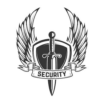Bezpieczeństwo. skrzydlata tarcza z mieczem. element na godło, znak, logo, etykietę. wizerunek