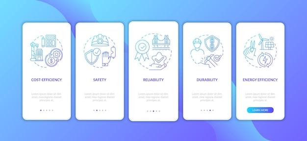 Bezpieczeństwo w budownictwie lądowym ekran strony wprowadzającej aplikację mobilną z ilustracjami pojęć