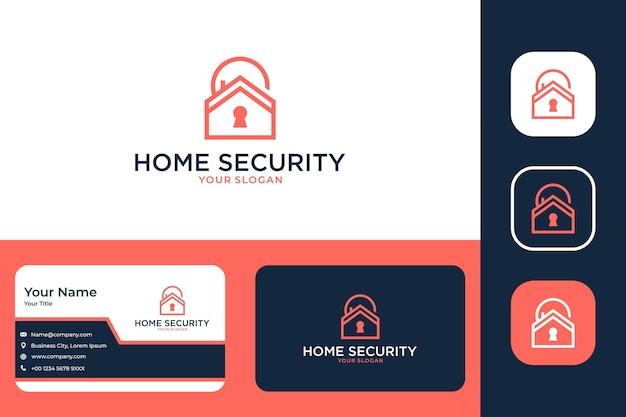 Bezpieczeństwo w domu z zamkiem nowoczesny projekt logo i wizytówka