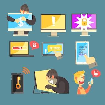 Bezpieczeństwo w internecie i ochrona komputera przed hakerami kradnącymi kradzież haseł i pieniędzy zestaw ilustracji informacyjnych