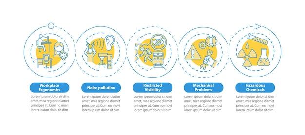 Bezpieczeństwo w miejscu pracy dotyczy szablonu infografikę na białym tle