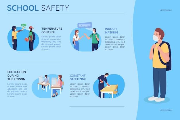 Bezpieczeństwo w szkole płaski kolor wektor infografika szablon