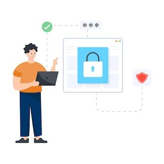 Bezpieczeństwo witryny w płaskiej ilustracji edytowalnego projektu wektorowego