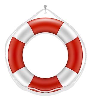 Bezpieczeństwo wody morskiego koła ratunkowego na białym tle
