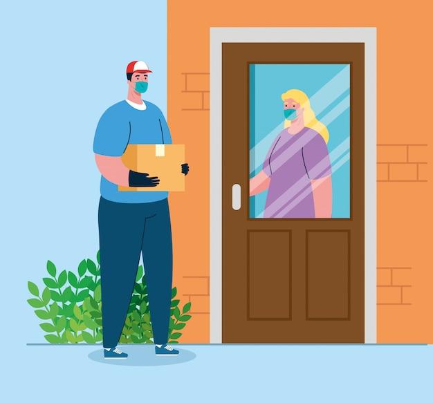 Bezpieczna bezdotykowa dostawa do domu, aby zapobiec rozprzestrzenianiu się koronawirusa, kobieta w drzwiach