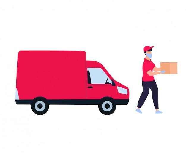Bezpieczna dostawa podczas koronawirusa covid-19. doręczyciel w samochodzie przyniósł paczkę. zamawianie jedzenia online. koncepcja pobytu w domu.