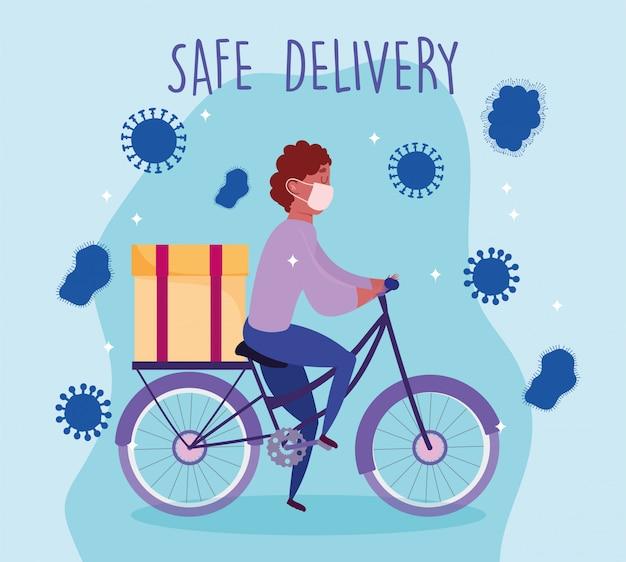 Bezpieczna dostawa w domu podczas koronawirusa covid-19, kurier mężczyzna z maską medyczną jazda rowerem ilustracja