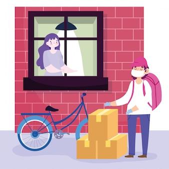 Bezpieczna dostawa w domu podczas koronawirusa covid-19, kurier z maską i pudełkami i klient patrząc przez okno