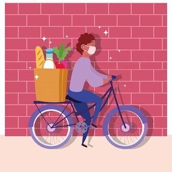 Bezpieczna dostawa w domu podczas koronawirusa covid-19, kuriera mężczyzna jedzie na rowerze z ilustracją rynku toreb