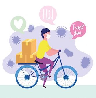 Bezpieczna dostawa w domu podczas koronawirusa covid-19, kuriera mężczyzna jedzie na rowerze z maską medyczną i pudełkami ilustracyjnymi