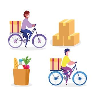 Bezpieczna dostawa w domu podczas koronawirusa covid-19, kuriera mężczyzna jedzie na rowerze z torbą na rynku i kartonami