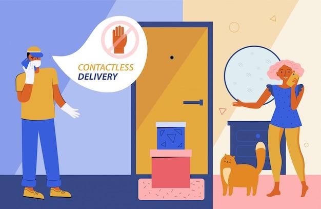 Bezpieczna dostawa zbliżeniowa do domu. kurier w ochronnej masce medycznej i rękawiczkach dostarcza pudełko z zamówieniem do drzwi domu. bezpieczna odległość podczas kwarantanny
