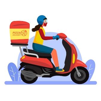 Bezpieczna dostawa żywności z kobietą na skuterze