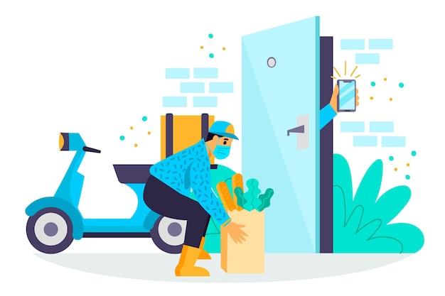 Bezpieczna dostawa żywności z pozostawieniem torby przy drzwiach