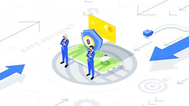 Bezpieczna i chroniona płatność mobilna online.