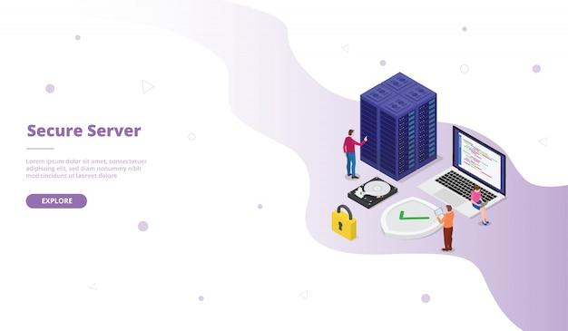 Bezpieczna kampania serwerowa dla strony głównej z szablonami stron internetowych, strona główna z izometrycznym, płaskim stylem
