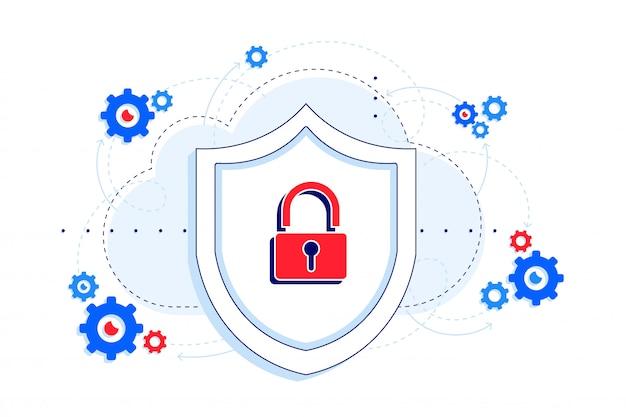 Bezpieczna platforma z ilustracją ochrony przestojów api. tarcza i zamek jako koncepcja bezpieczeństwa. saas.