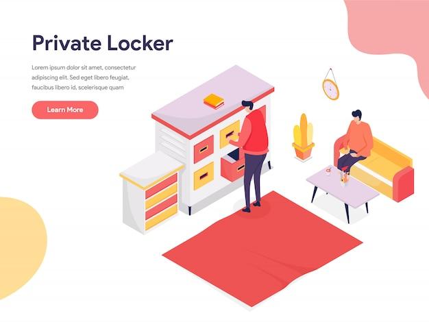 Bezpieczna przestrzeń i ilustracja prywatnej szafki