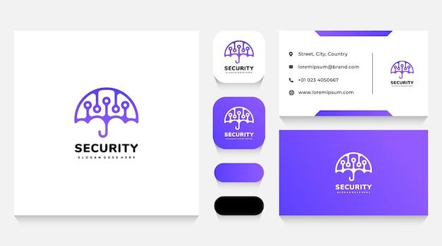 Bezpieczna technologia i szablon logo parasola i wizytówka