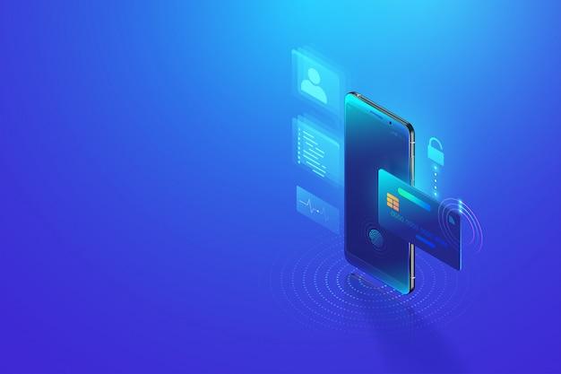 Bezpieczna transakcja płatności online za pomocą smartfona. bankowość internetowa za pomocą karty kredytowej na telefon komórkowy