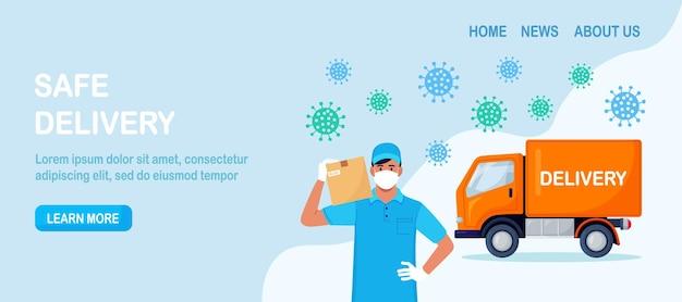 Bezpieczna usługa dostawy. zamówienie online żywności. kurier w maskę na twarz i niebieskie ochronne rękawiczki medyczne trzymające opakowanie kartonowe. mężczyzna dostarczający paczkę ciężarówką