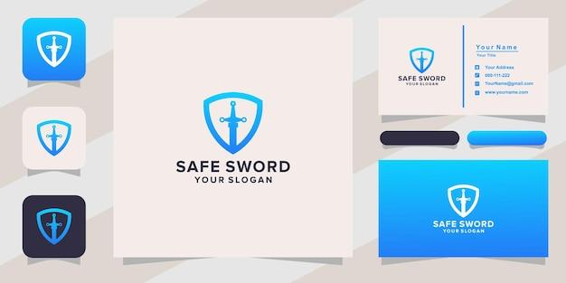 Bezpieczne logo miecza i wizytówka