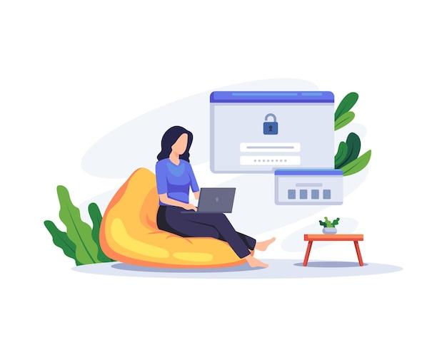 Bezpieczne logowanie i zarejestruj ilustracja koncepcja. użytkownik korzysta z bezpiecznego loginu i ochrony hasłem na stronie internetowej lub koncie w mediach społecznościowych. wektor w stylu płaskiej