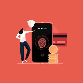 Bezpieczne płatności, bezpieczne dane osobowe, ilustracja koncepcja ochrony danych poufnych