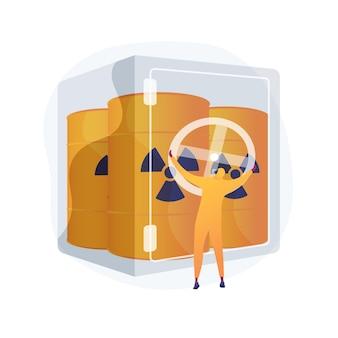 Bezpieczne przechowywanie odpadów streszczenie ilustracja koncepcja. gospodarka odpadami chemicznymi, magazynowanie materiałów niebezpiecznych, bezpieczny pojemnik, sortowanie i recykling, substancja niebezpieczna