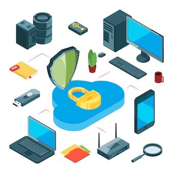 Bezpieczne przechowywanie w chmurze. koncepcja przechowywania danych izometrycznych. transfer informacji, internet i sieć lokalna